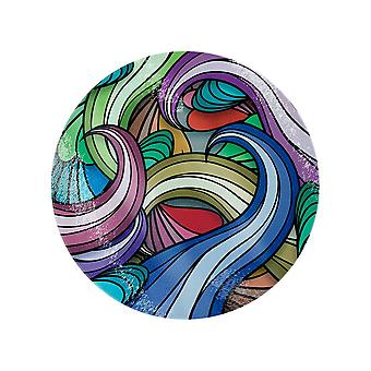 Grindstore Multicoloured Waves Circular Glass Chopping Board