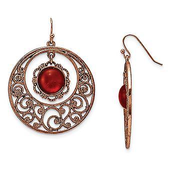 Shepherd hook Copper tone Circle Filigree With Sienna Crystal Long Drop Dangle Earrings Measures 38x24mm Wide Jewelry Gi