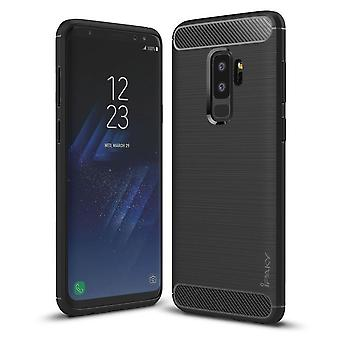 iPaky Rubber Shell Samsung S9 + in carbon fiber design-Black