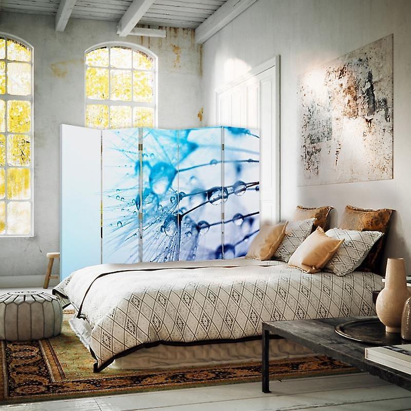 Diviseur de chambre, 5 panneaux, double-sided, Rotatable 360, toile, gouttes d'eau sur Dmuchawcu