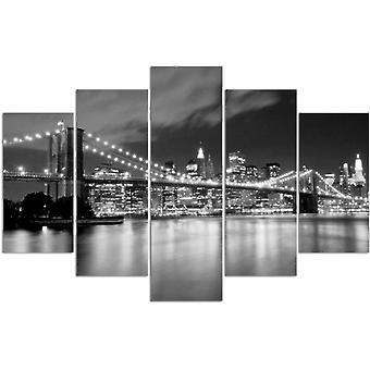 Five Part Picture On Canvas, Pentaptych, Type A, Brooklyn Bridge At Night