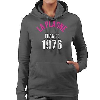 La Plagne France 1976 Skiing Women's Hooded Sweatshirt
