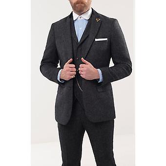 Loch Hart Mens Grey Herringbone Tweed 3 Piece Suit Velvet Trim
