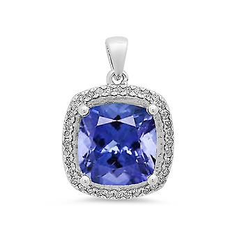 Dazzlingrock Collection 10K 9 MM Tanzanite & White Diamond Ladies Halo Style Pendant (Silver Chain Included), White Gold