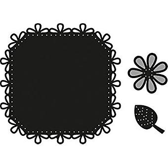 Marianne Design Square and Flower/ Stitch Craftable Die, Black