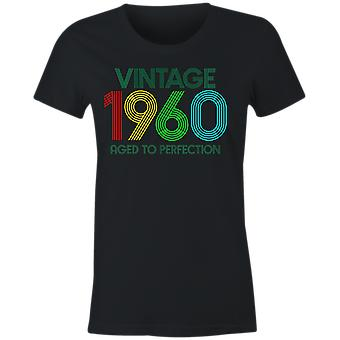 Ladies vintage 1960 aged to perfection 60th birthday t shirt 2020 sixtieth retro gift idea