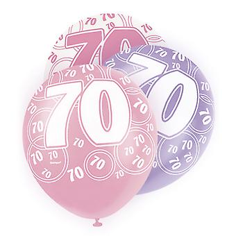 Unique Party 12 Inch 70th Birthday Pink Balloons (Pack Of 5)