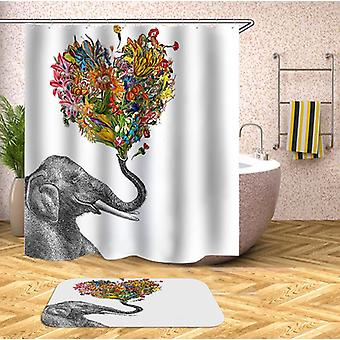 Smiling Elephant Holding A Floral Heart Shower Curtain