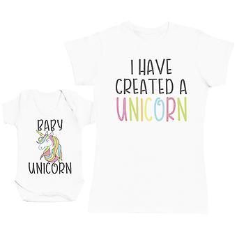 婴儿独角兽妈妈婴儿礼物集妇女T恤和婴儿体衣