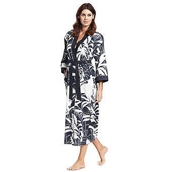 Feraud 3191069-11998 Frauen's Couture Smokey Blue Cotton Dressing Kleid Loungewear Robe