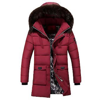 Allthemen Mens Solid Hodded Orta Uzunlukta Ceket Kış Sıcak Kalın Outwear Kabarık Hoodies