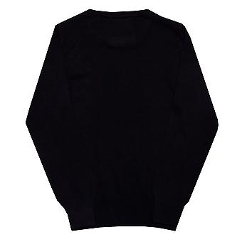 Infant Boys Luke 1977 Gerard Crew Knit In Navy- Ribbed Cuffs, Collar And Hem-