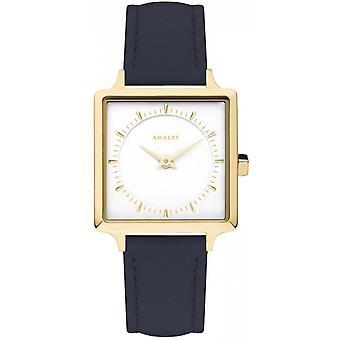 Amalys purple watch - Steel IP dor dial white strap leather blue night woman