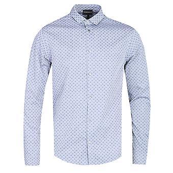 Emporio Armani All-Over Eagle Logo Custom Fit Grey Shirt