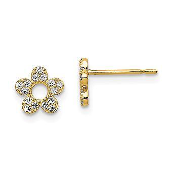 14k Madi K CZ Cubic Zirconia Simulated Diamond Flowe Post Earrings Jewelry Gifts for Women