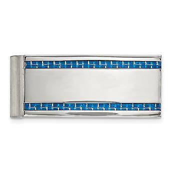 21.97 mm από ανοξείδωτο χάλυβα στιλβωμένο μπλε άνθρακα fiber ένθετο χρήματα clip κοσμήματα δώρα για τους άνδρες