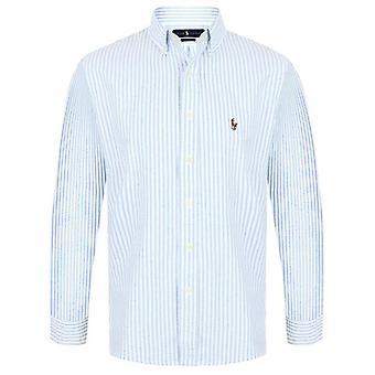 Ralph Lauren Polo Shirt Mens Blue Stripe Oxford Cotton Slim Fit