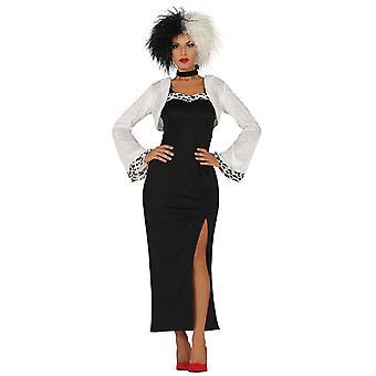 Womens Grym Skurk Fancy Dress Kostym Cruella Devil