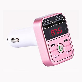 Stuff Certified® Dual USB Car Charger Bluetooth Handsfree FM Radio Kit Pink