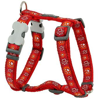 Red Dingo Harness One Touch Style Paw Impression Red