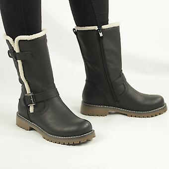 Cipriata Donna Ladies Buckle Zip Up Mid Calf Biker Boots Black
