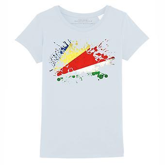 STUFF4 Mädchen's Rundhals T-Shirt/Seychellen Flagge Splat/Baby blau