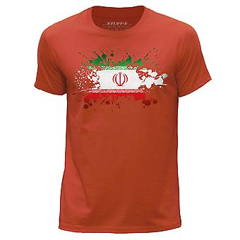 STUFF4 Men's Round Neck T-Shirt/Iran/Iranian Flag Splat/Orange