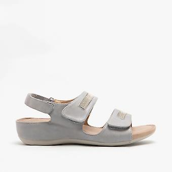 Boulevard Mary Ladies Touch Fasten Sandals Light Silver