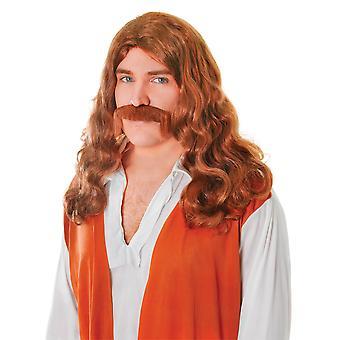 Bristol Novelty Herre hippy paryk og moustache