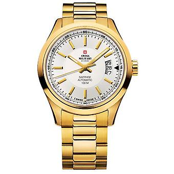 Swiss Military Automatic Analog Man Watch with SMA30003.07 Gold Plated Stainless Steel Bracelet