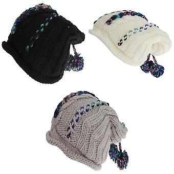 Hawkins Collection Adults Unisex Hand Knitted Pom Pom Hat