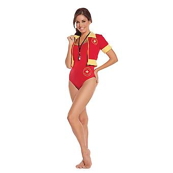 Womens Beach Patrol Swimsuit Baywatch Lifeguard Halloween Costume