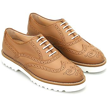 Hogan Women's fashion brogues lace-ups oxfords shoes in tan coloured leather