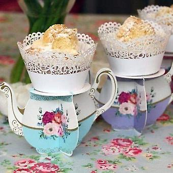 Alice in Wonderland Floral Mini Cupcake theepot Stand x 6