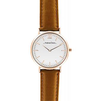 Watch Andreas Osten AO-47 - Leather Watch Brown Bo tier Dor Rose Mixed