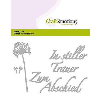 CraftEmotions Die Text - I stiller Trauer (DE) Kort 11x9cm