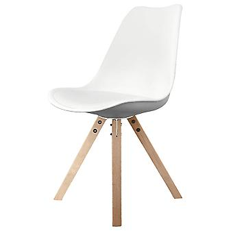 Fusion Living Eiffel Inspiré White Plastic Dining Chair with Square Pyramid Light Wood Legs