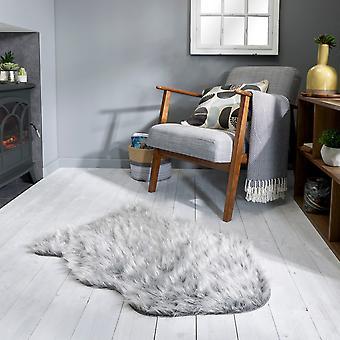 Aura Faux Fur Glacier Sparkle Rugs In Grey