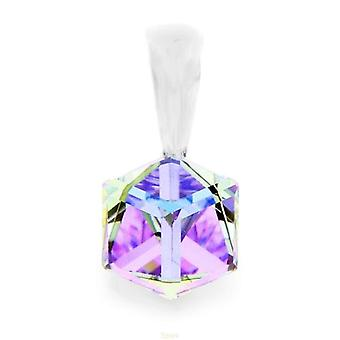 """Spark Cubed Shaped Vitrail Light Crystal Pendant on 18"""" Necklace"""
