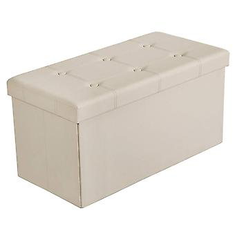 Hocker with storage space-76 x 38 x 38 cm-Synthetic leather-beige