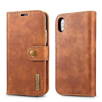 Mobile case iPhone XS Max with magnetic shell - Authentic leather