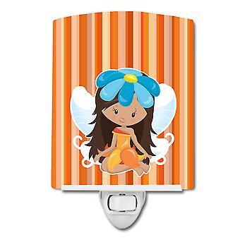 Carolines Aarteita BB6913CNL Fairy Oranssi Raidat Keraaminen Night Light