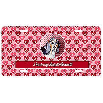 Carolines Treasures LH9147LP Basset Hound Valentine's Kärlek och hjärtan Licens P