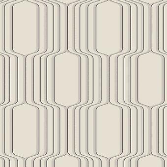 Decorline Geometrische Ogee Wallpaper Cream Fine Decor DL31214
