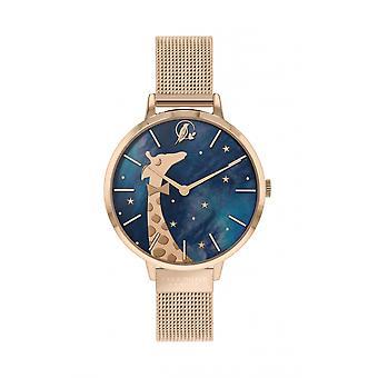Sara Miller SA4058 Women's Rose Gold Tone Mesh Strap Giraffe Wristwatch