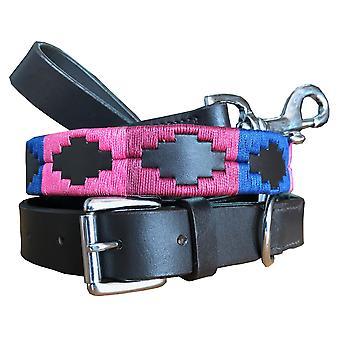 Carlos diaz genuine leather  polo dog collar and lead set cdhkplc79