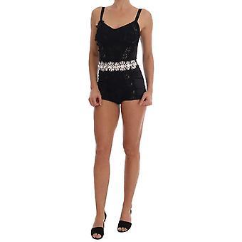 Dolce & Gabbana Black Crystal Floral Romper Bodysuit