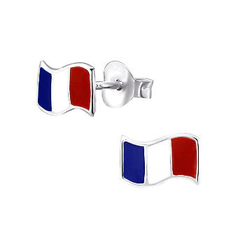 France Flag - 925 Sterling Silver Colourful Ear Studs - W21906x