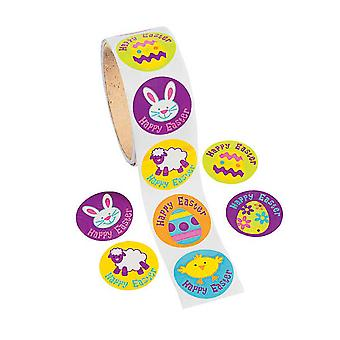 Roll of 100 Happy Easter Stickers for Kids Crafts | Childrens Craft Stickers