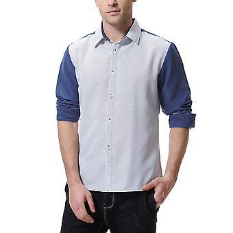 Allthemen Men's Long Sleeves Shirt Colorblocked Lapel Cotton Blend Shirt